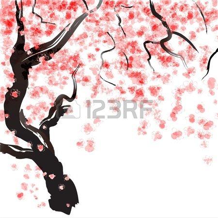 Aquarelle Japonaise De Fleur De Cerisier Banque D Images Aquarelle Japonaise Cerisier Japonais Fleur De Cerisier