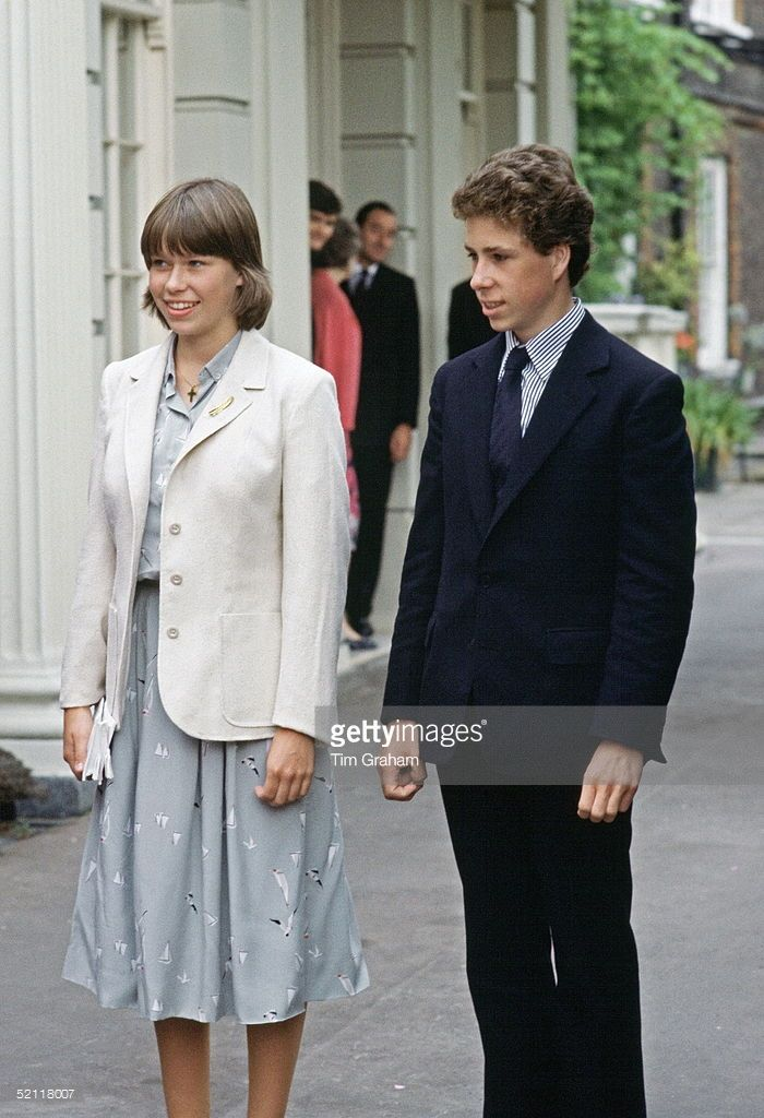 Lady Sarah Armstrong-jones (now Lady Sarah Chatto) With Her Brother Lord  David Linley (now Viscount Linley) Outside Clarence House