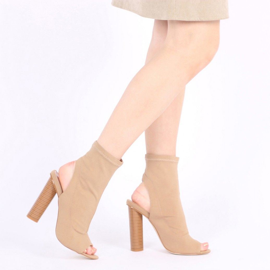 73776f6e429 Aliah Cut Out Stacked Heel Stretch Ankle Boots in Nude