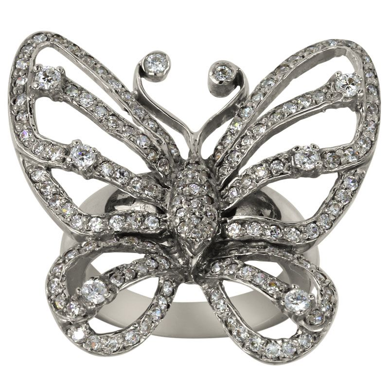 Large Diamond Butterfly Ring In 14Kt White Gold This