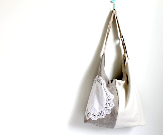 Slouch style  shoulder bag tote beige and taupe by Amayahandmade