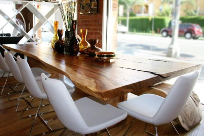 A wood slab dining table is just so naturally perfect  Sleek modern chairs  with rustic table  hmmm maybe this is the way to go. acacia tree table       roomservicestore com   The eco dining