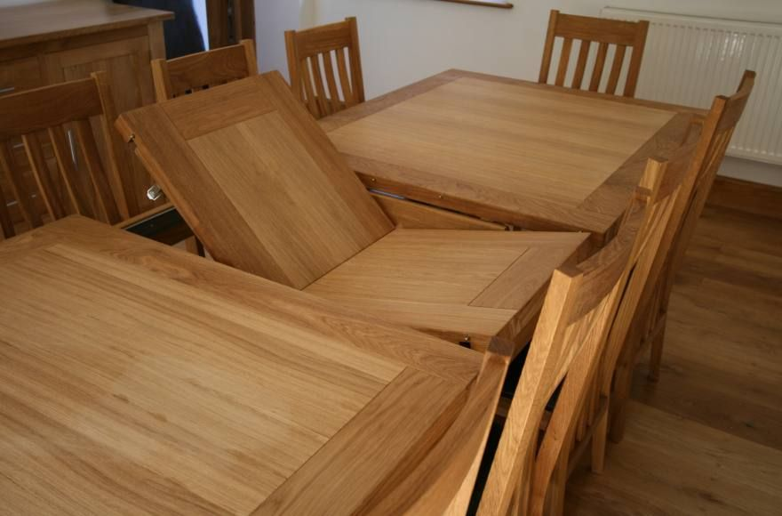 10 Seater Erfly Extending Large Oak Dining Room Table