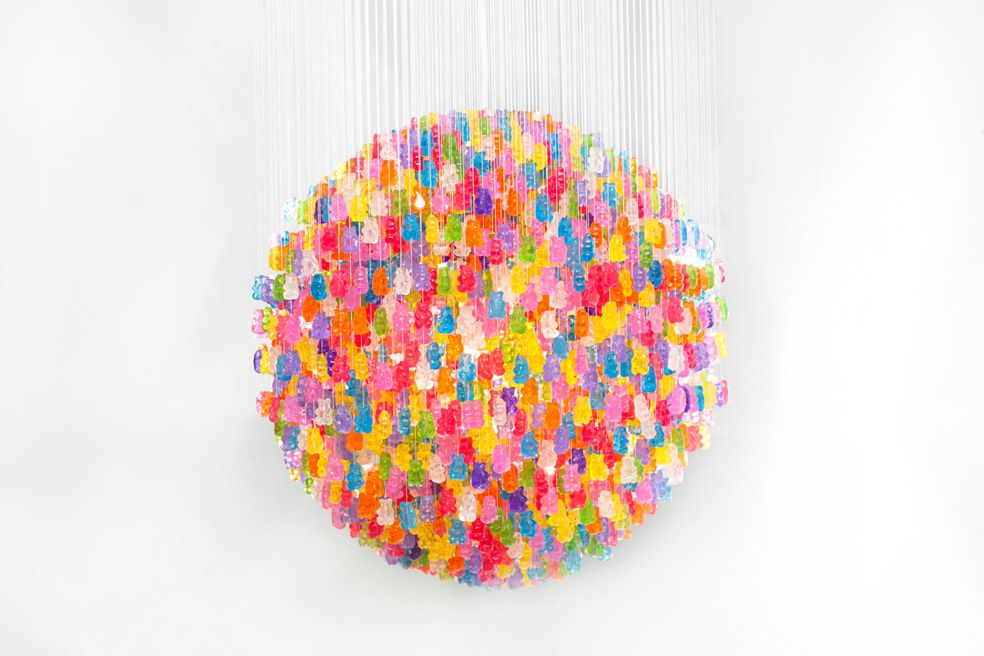 New York-based product designer Kevin Champeny was recently commissioned by home furnishings company Jellio to create an actual giant gummy bear chandelier! Constructed from 5,000 hand-cast, high-gloss acrylic gummy bears, this unusual light was made in a limited edition of just ten and it takes about two months to create each one. Want one? You can cop it over at Jellio.