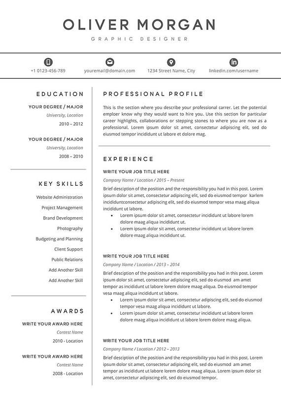 Resume Cover Letters Resume Template  Professional Resume  Cover Letter  5 Page Pack .