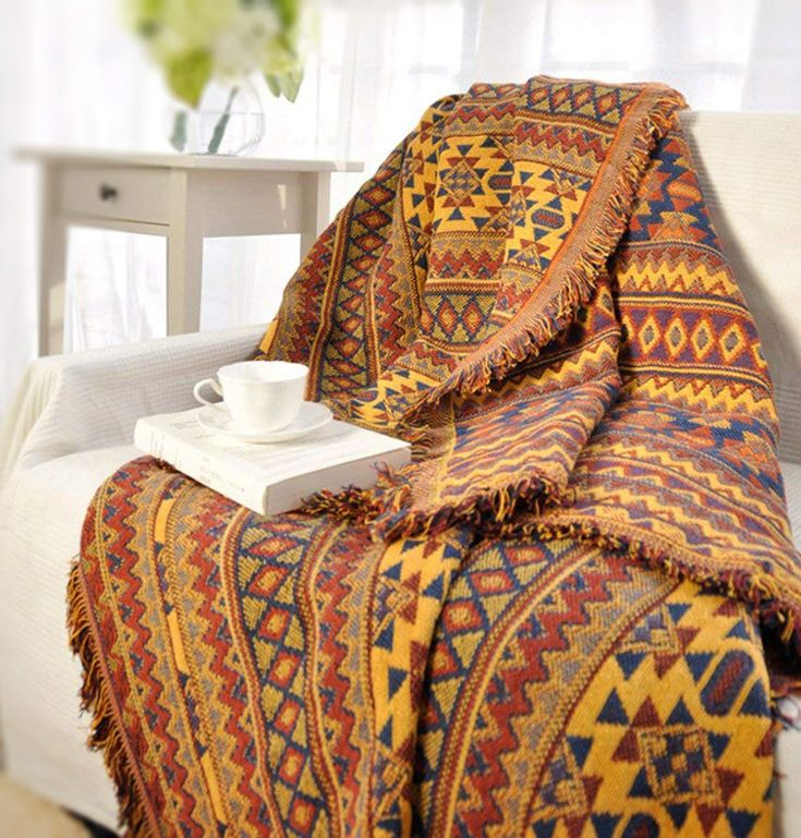 organic sofa uk bed faux leather cup holder 3 seater boho tassels throw blankets in cotton machine washable with cold water colorful tribal pattern blanket