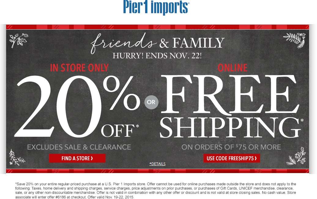 Pier 1 coupon   Pier 1 promo code from The Coupons App  off the tab at Pier  1 Imports October. Pinned November 19th  20  off the tab at Pier 1  Imports  coupon