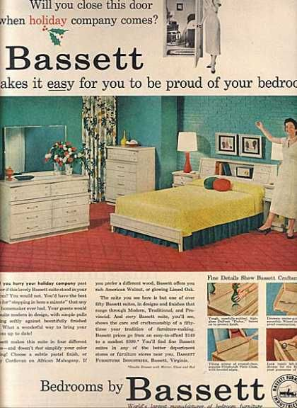 Colorful 50s bedroom and many more vintage pics at this - Bassett bedroom furniture 1970 s ...