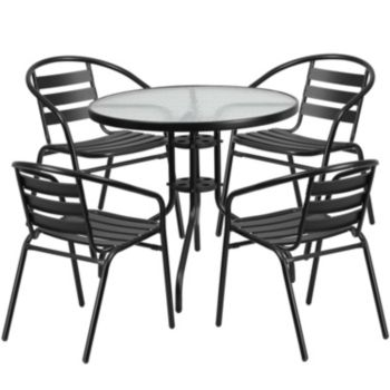 31 5 Round Glass Metal Table With 4 Black Metal Aluminum Slat