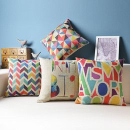 Ikea Decorative Pillows Captivating Wholesale Fashion Rainbow Stripe Geometry Ikea Cotton Linen Burlap Design Decoration
