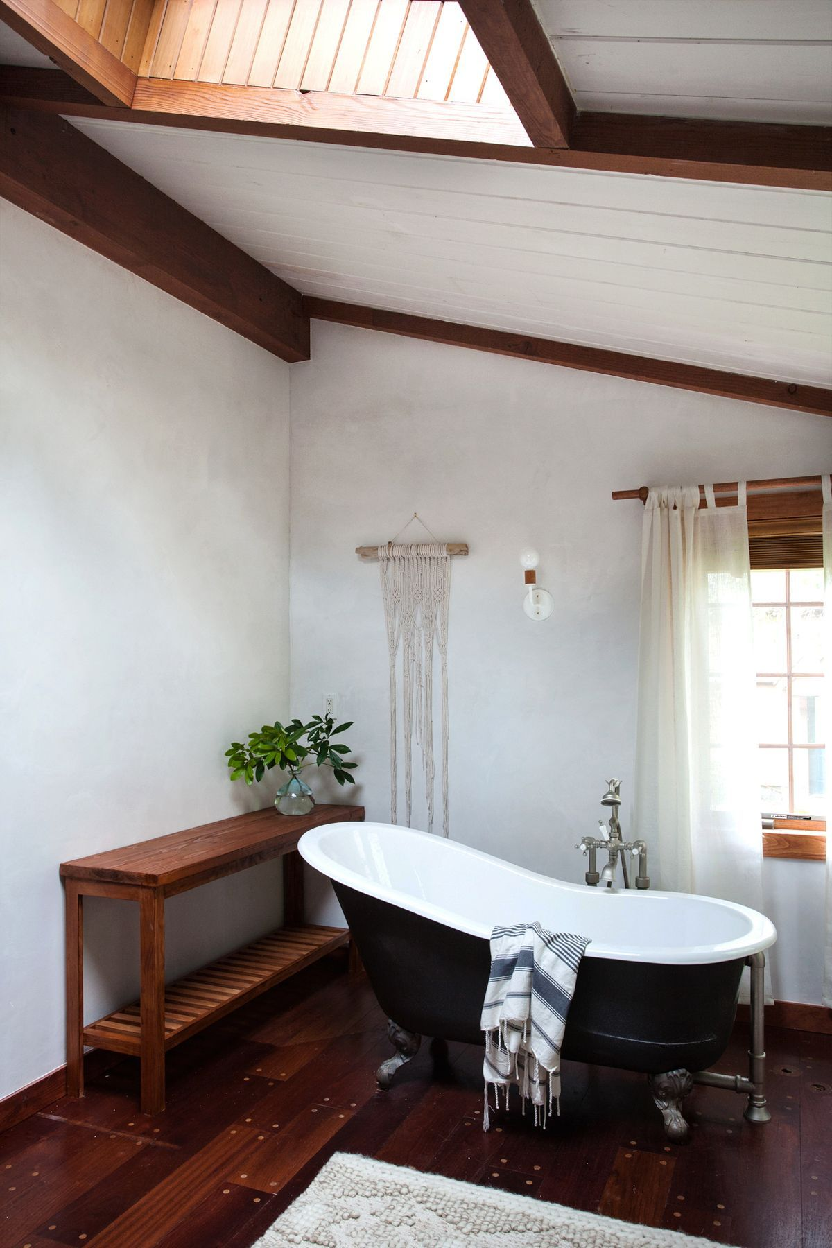 Stunning Wood And White Bathroom With A Shiplap Ceiling, Dramatic