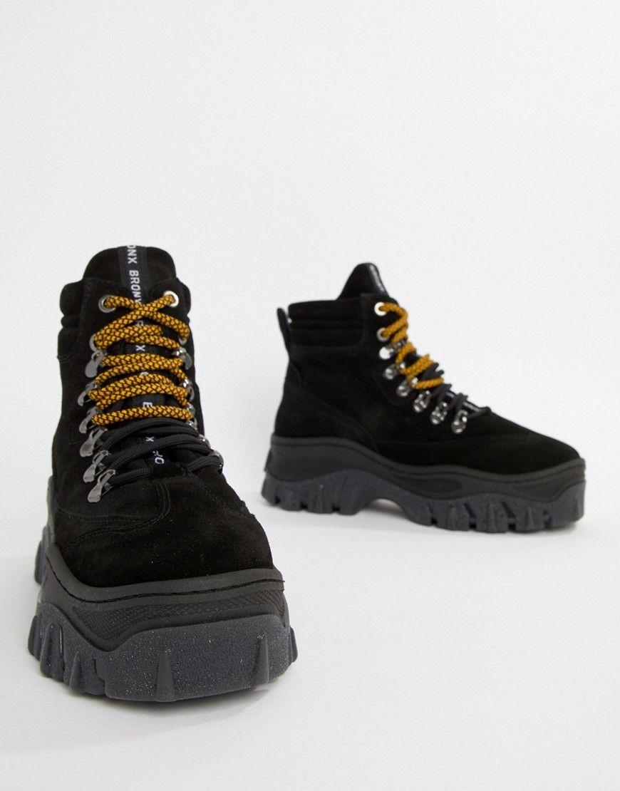 black suede chunky hightop sneakers