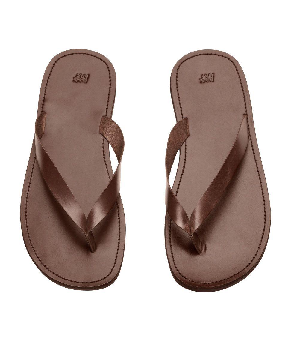 Mens leather flip flops, Mens shoes