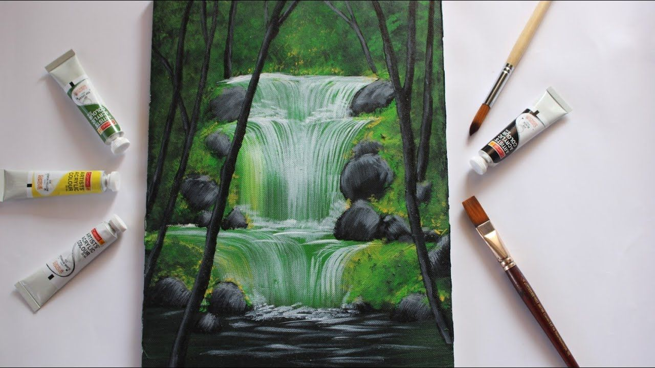 Waterfall Acrylic Painting For Beginners Step By Step Waterfall
