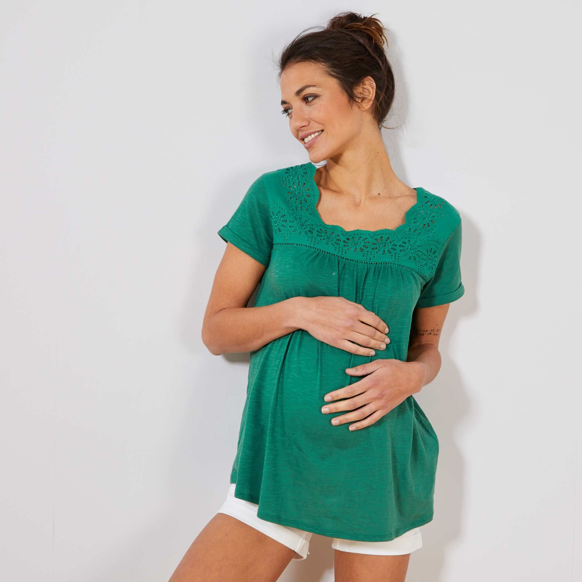 e81c461873fd9 Maglietta premaman ricamo inglese Donna - verde pino - Kiabi - 10