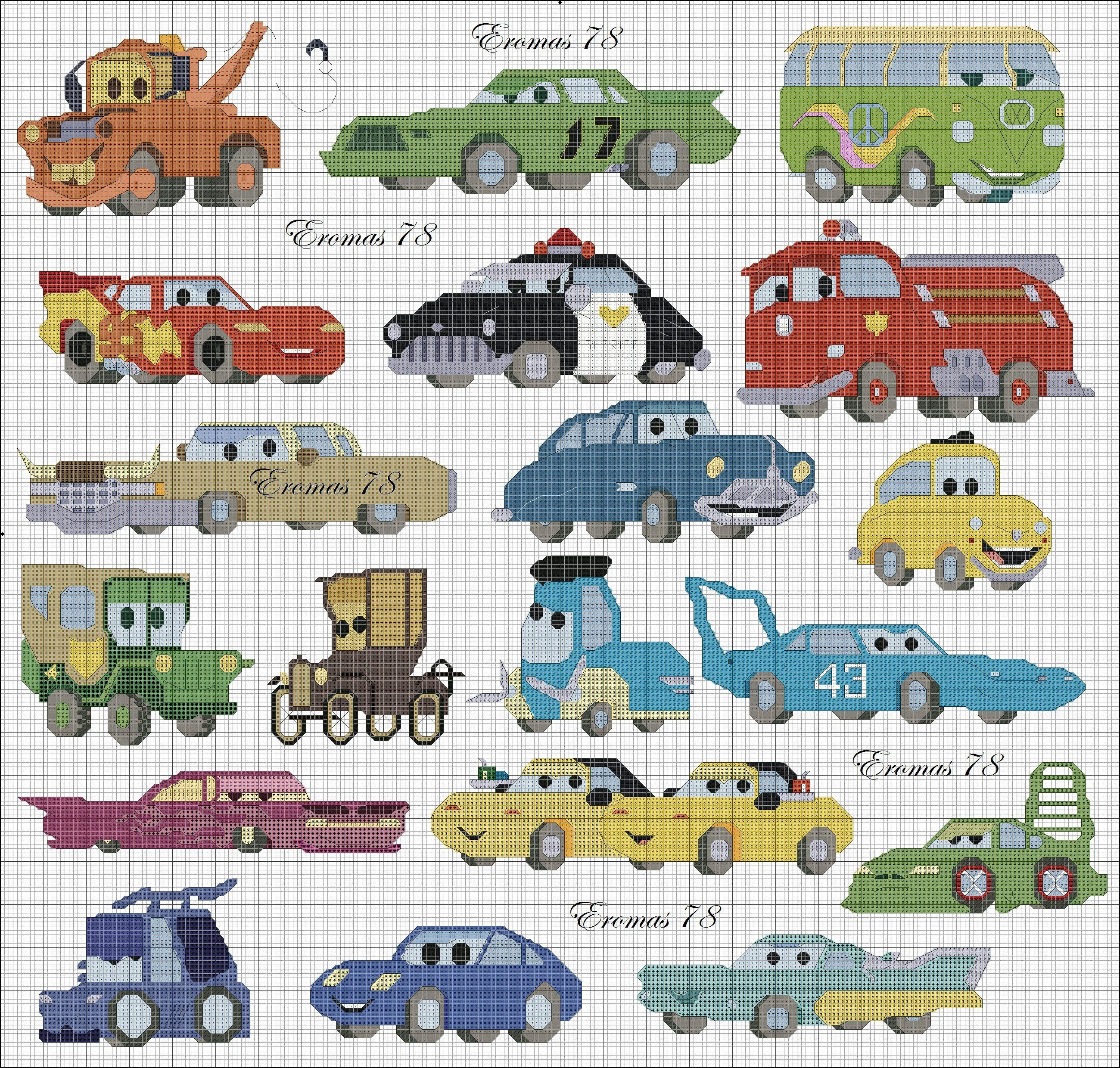 Cars Jpg Jpeg Afbeelding 2600 2480 Pixels Punto Croce Kit Punto Croce Bordi A Punto Croce