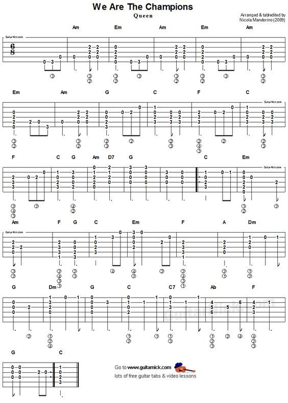 We Are The Champions, Queen - easy acoustic guitar tab | Guitar in ...