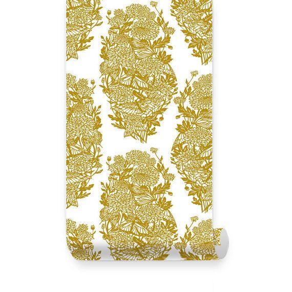 Repositionable  Fabric Wallpaper Black Butterflies and Flowers PEEL /& STICK