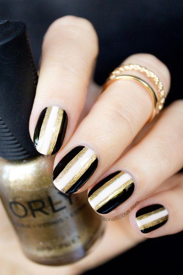 Inspiration Gold And Black Striped Nails O Spa Lac Sensation Gel Polish Or En Vogue Nails In Kelowna Bc New Year S Nails Metallic Nails Design Cute Nails
