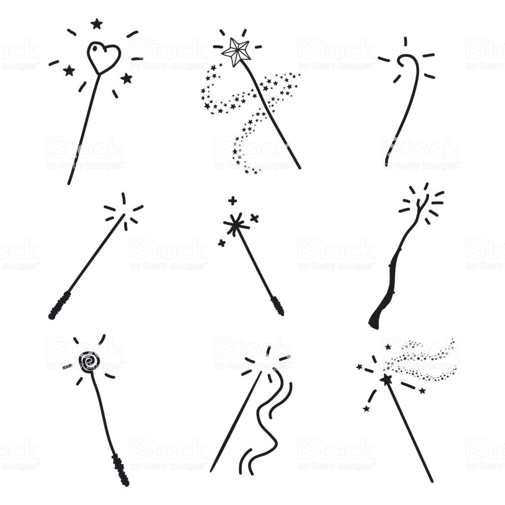 Magic Wand Doodle Set Vector Hand Drawn Icon Collection Isolated