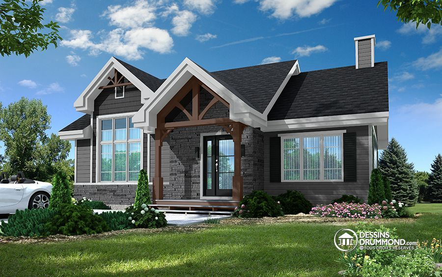 W3153 - Modèle moderne rustique avec 2 chambres et proposition d - Plan Maison Moderne  Chambres