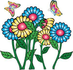 flowers clipart butterflies
