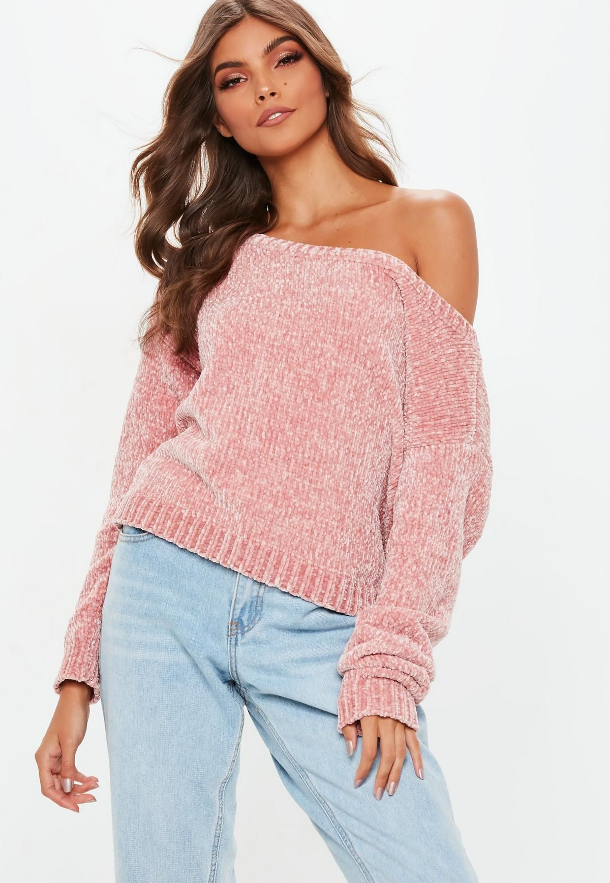 94c6a6736989 Blush Off the Shoulder Chenille Jumper