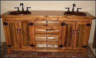 Photo Of Front View Rustic Bathroom Vanity Log Cabin Style