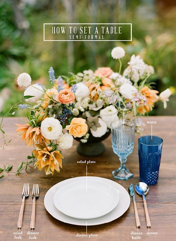 How to Set a Table: Formal & Semi-Formal | Pinterest | Reception ...