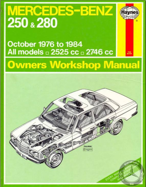 Repair Manual From Haynes Mercedes Benz W123