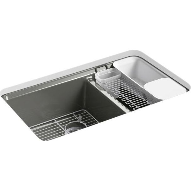 Kohler K 8669 5UA3 0 Riverby White Undermount Double Bowl Kitchen Sinks |
