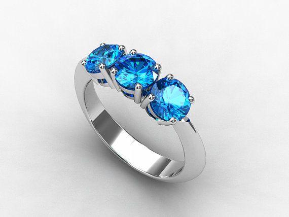 Swiss blue topaz ring, white gold, engagement ring, trinity, blue topaz, three stone, vintage style, anniversary, wedding ring
