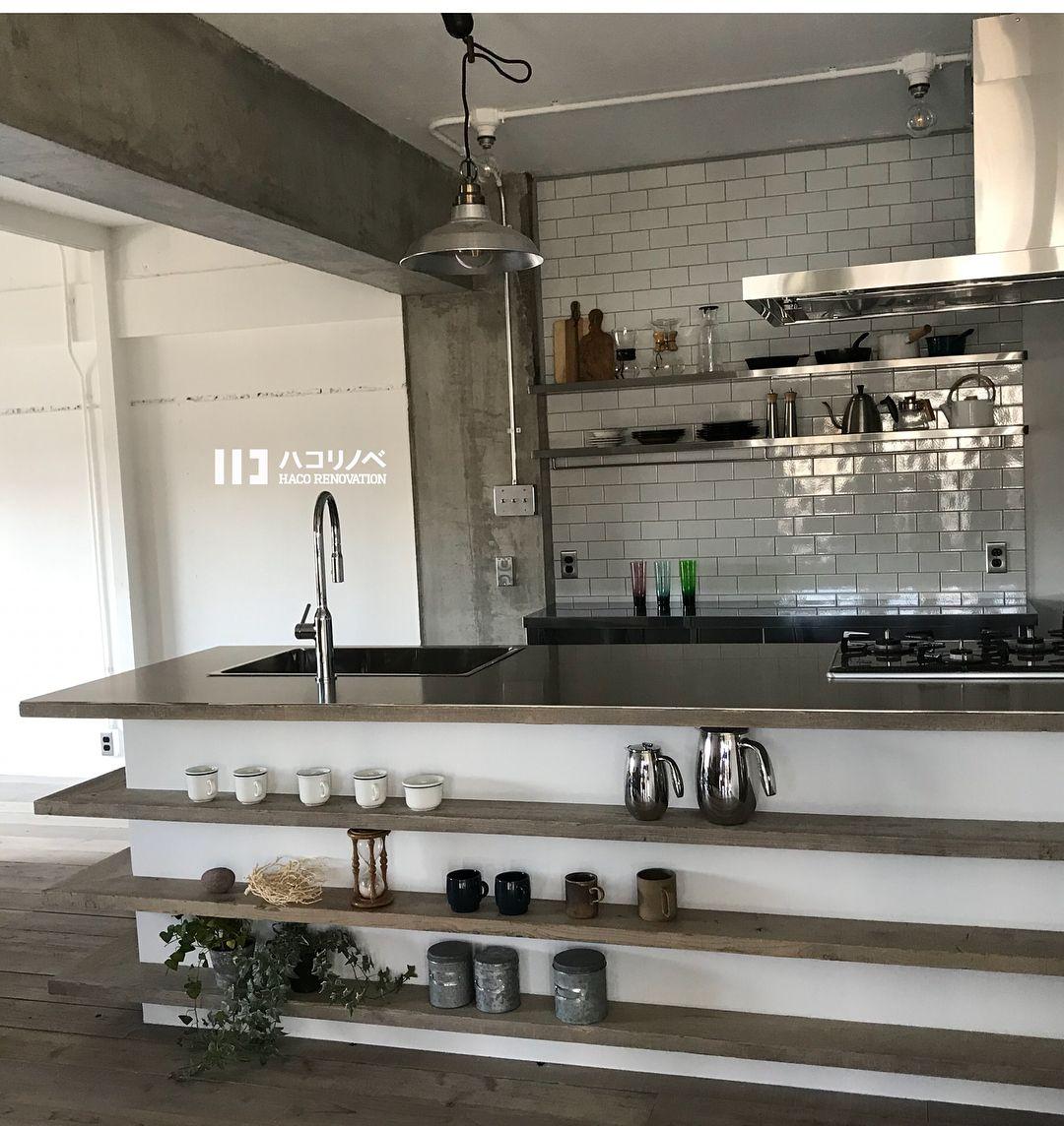 2018 01 30 フラット対面の造作キッチン シンク コンロ前に壁がない