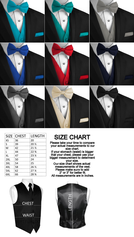 Menus solid satin tuxedo vest bowtie and hankie formal dress