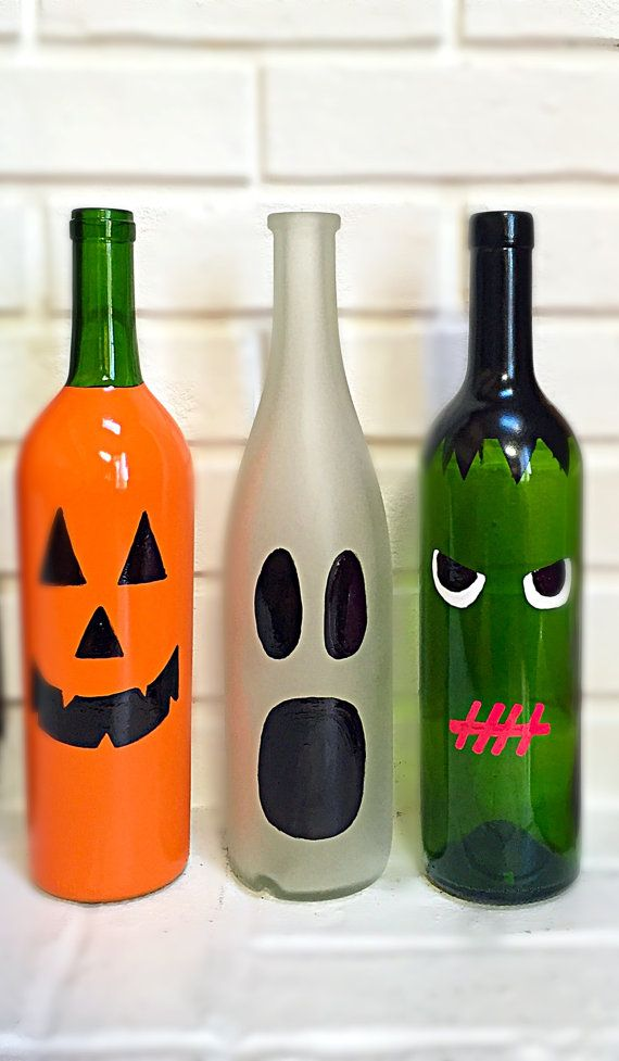 Halloween Decor Halloween Wine Bottle Decor Halloween Decorations Pumpkin Ghost Frankenste Halloween Wine Diy Halloween Decorations Halloween Wine Bottles