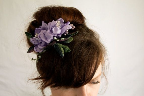 Violet Hair Clip Bridesmaid Flower Hair Clip Girls Gift Violet Flower Barrette Violet Flower Headpiece Purple Headpiece Floral Fascinator