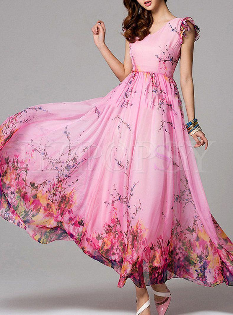 Summer Floral Print Short Sleeve Maxi Dress Floral Print Chiffon Maxi Dress Fashion Dresses Floral Maxi Dress [ 1066 x 789 Pixel ]