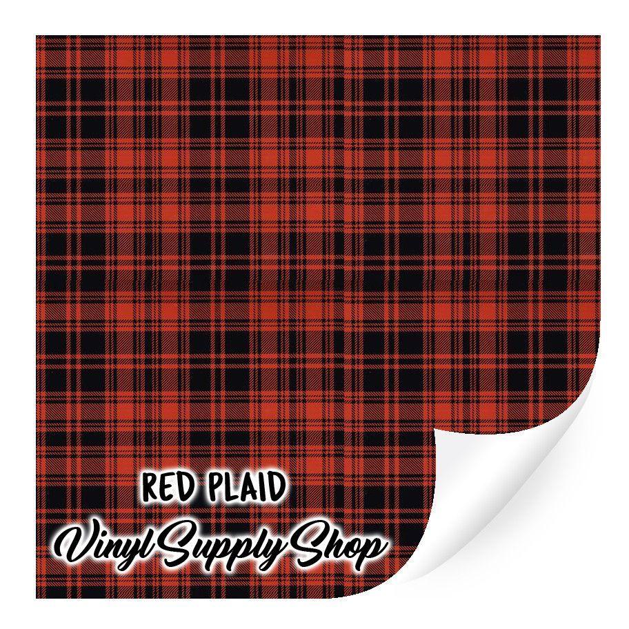 Red Plaid Patterned Vinyl 12x12 Patterned Vinyl Plaid