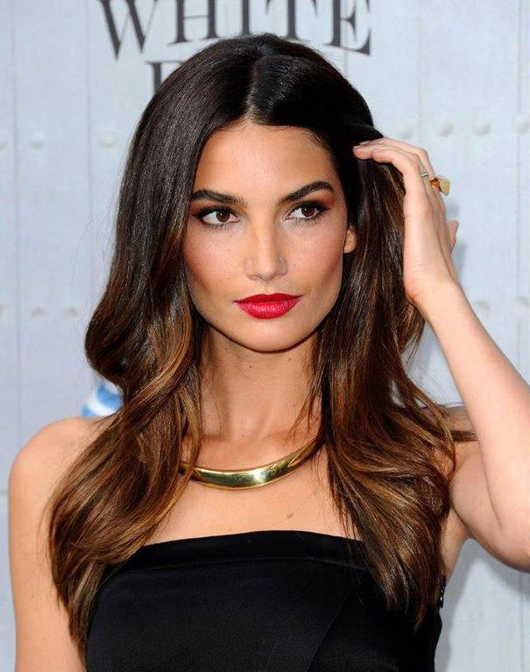 Lily aldridge hair highlights blowdry styles party