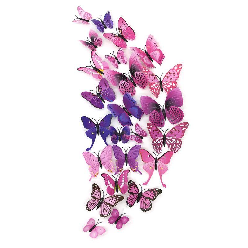 12 unids set 3d mariposa pegatinas de pared decoraci n for Decoracion hogar 3d