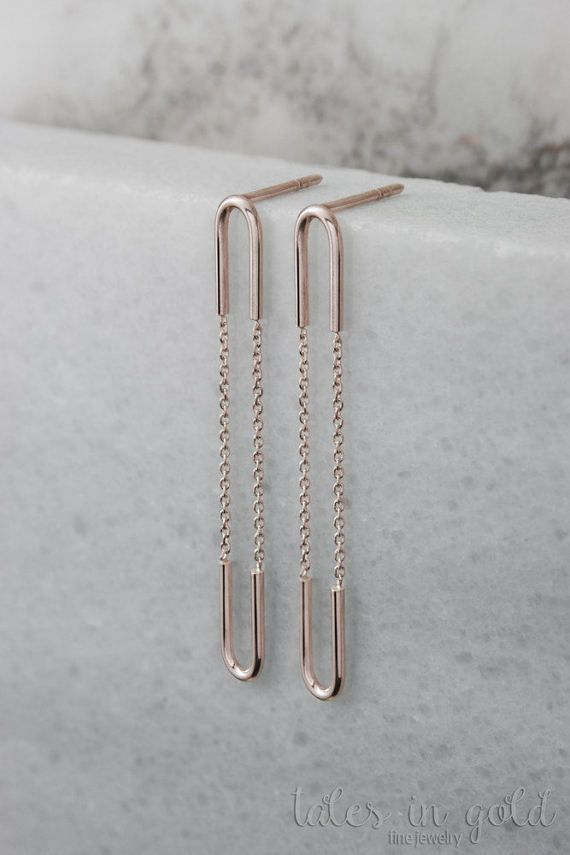 Extra Long Earrings Gold Chain 14k White Everyday