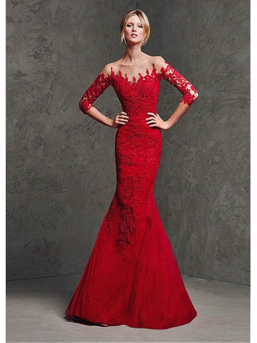 Mermaid 3/4 Length Sleeves Lace Long Red Prom Formal Evening Dresses ...