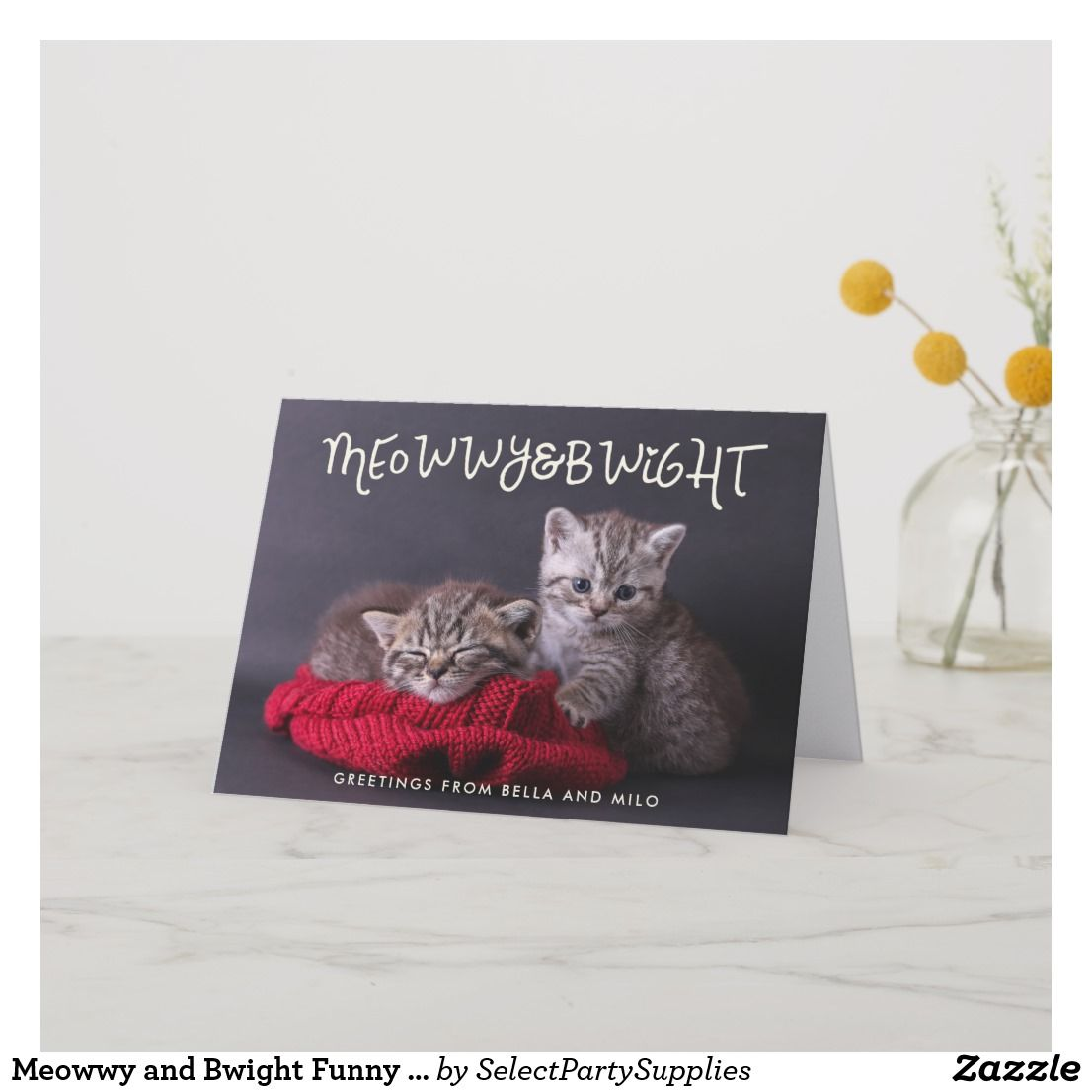 Meowwy And Bwight Funny Holiday Photo Greeting Holidays And