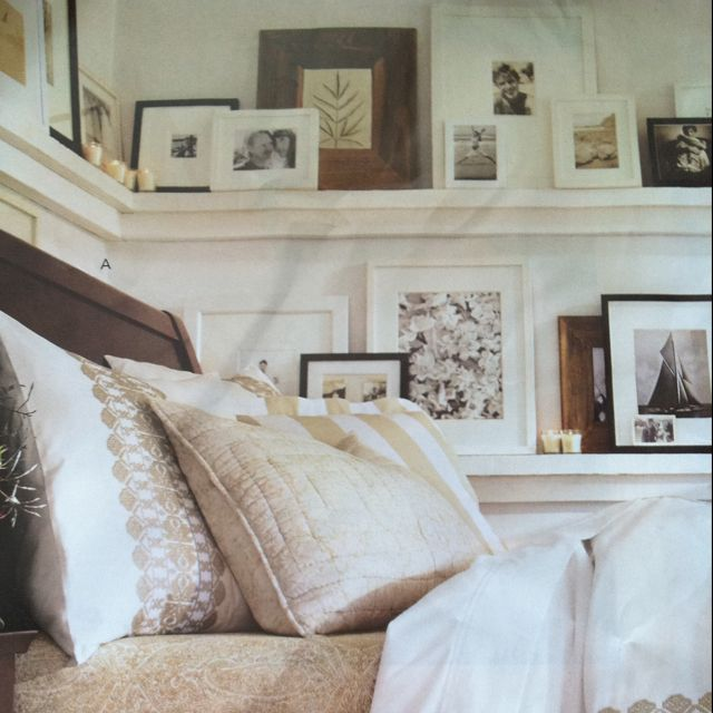 Picture rail. Cute idea!! Love displaying photos.   Home