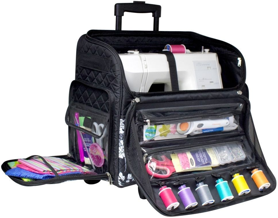 Craft Bag Rolling Sewing Machine Tote Telescoping Handle Many Pockets New