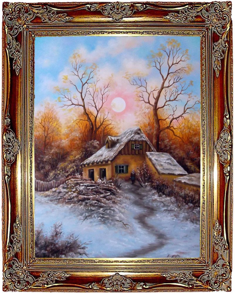 Winterlandschaft Original Öl Malerei Gemälde Kunstmalerei handgemalt ...
