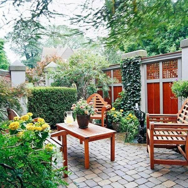 Holz Zaun Garten Bepflanzen Steinfliesen Mauern Zaune
