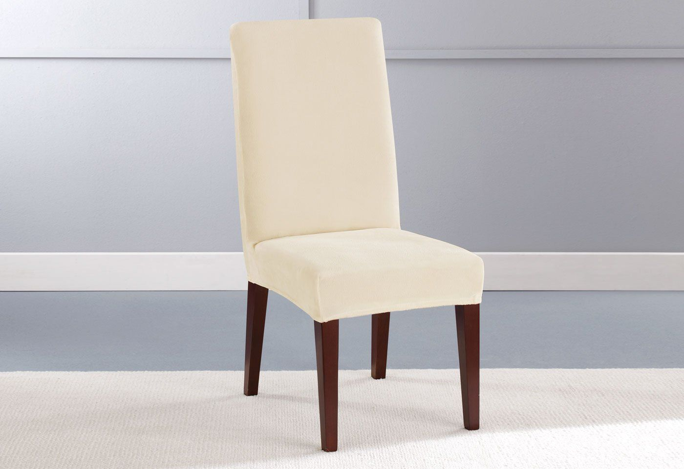 Stretch Plush Short Dining Chair Slipcover Slipcovers For Chairs