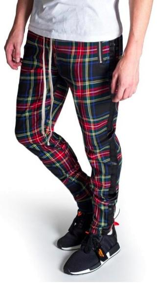 Men Slim Fit Black White Striped Plaid Pants Casual Jogger Skinny Trousers