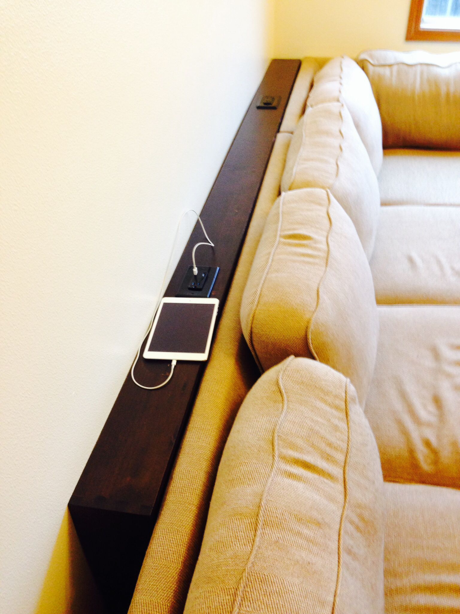 Behind The Couch Table Added Some Usb Outlet Receptacles For Awesomeness Diysofatable Homefurniturecouches Farmhouse Sofa Table Diy Sofa Table Table Behind Couch